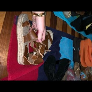 Tan leather soludos with espadrille bottom